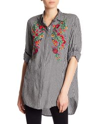Dex - Floral Embroidery Check Print Blouse - Lyst