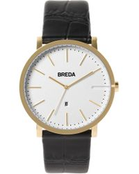 Breda - Men's Breuer Croc Embossed Leather Strap Watch, 39mm - Lyst