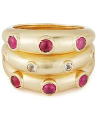 Elizabeth and James - Gold Plated Gemstone Accent Phoenix Ring - Set Of 3 - Lyst
