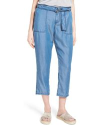 Caslon - Belted Chambray Crop Trousers (regular & Petite) - Lyst