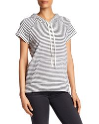 Max Studio - Short Sleeve Striped Hooded Pullover - Lyst