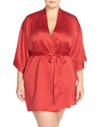 Black Bow - 'gem' Satin Robe (plus Size) - Lyst