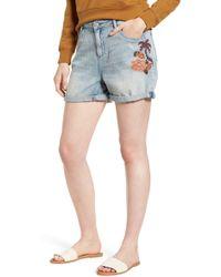 Scotch & Soda - Embroidered Boyfriend Denim Shorts - Lyst