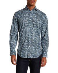 Thomas Dean - Leaf Patterned Long Sleeve Sport Fit Shirt - Lyst
