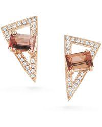 Dana Rebecca - 14k Rose Gold Isla Rio Pink Tourmaline & Diamond Stud Earrings - Lyst