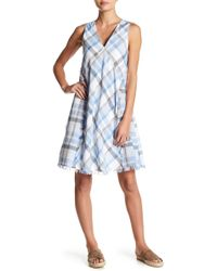 Doe & Rae - Frayed Plaid Sleeveless V-neck Dress - Lyst