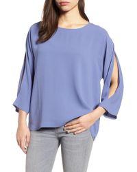 Eileen Fisher - Slit Sleeve Silk Top - Lyst