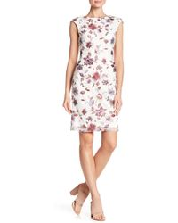 Donna Ricco - Floral Embroidered Cap Sleeve Dress - Lyst
