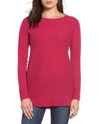 Halogen - High/low Wool & Cashmere Tunic Sweater - Lyst