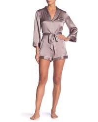 0d9fcd12cc Lyst - Natori Women s Josie Gingko Floral Silk Nightgown - Black ...