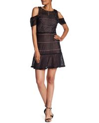ABS Collection - Cold Shoulder Crochet Knit Dress - Lyst