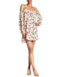 Rokoko by Dazz - Ruffled Cold Shoulder Floral Print Dress - Lyst