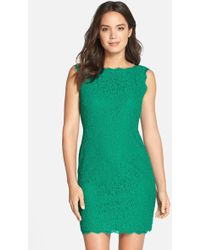 Adrianna Papell - Boatneck Lace Sheath Dress (petite Size) - Lyst