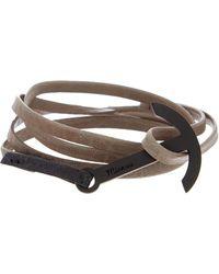 Miansai - Modern Anchor On Two-tone Leather Wrap Bracelet - Lyst