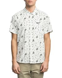 RVCA - Floral Short Sleeve Trim Fit Shirt - Lyst