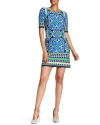 Eliza J - Abstract Short Sleeve Shift Dress - Lyst