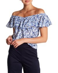 Rebecca Taylor - Aimee Floral Off-the-shoulder Silk Top - Lyst