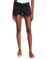 Dex - Distressed Floral Embroidered Shorts - Lyst