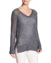 Inhabit | Marled Open Stitch V-neck Sweater | Lyst