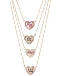 Betsey Johnson Heart Pendant Necklaces - Set Of 4
