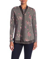 Bobeau - Mixed Media Satin Bow Detailed Pullover - Lyst