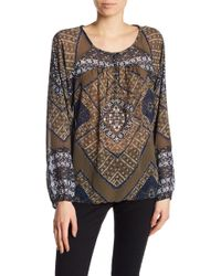 Lucky Brand - Printed Long Sleeve Blouse - Lyst