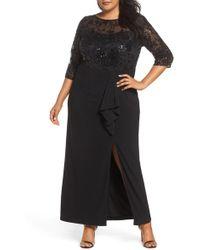 Alex Evenings - Sequin Mesh & Jersey Column Gown - Lyst