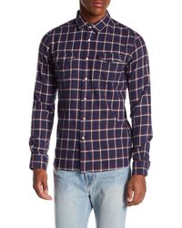 Knowledge Cotton Apparel | Flannel Checked Button Down Shirt | Lyst