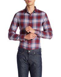 Original Penguin - Roll Sleeve Plaid Heritage Slim Fit Shirt - Lyst