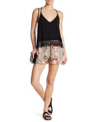 Angie - Crochet Dot Trim Floral Print Shorts - Lyst