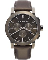 Burberry - Men's Check Stamped Chronograph Leather Strap Watch - Lyst