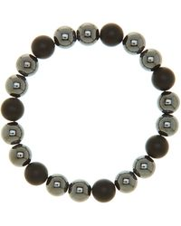 Link Up - Hematite & Matte Onyx Elastic Bracelet - Lyst