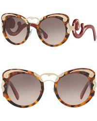 Prada - Minimal Baroque 54mm Round Sunglasses - Lyst