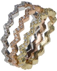 Kenneth Jay Lane - Tri-tone 18k Gold Plated Cz Pave Wavy Stacker Rings - Set Of 3 - Lyst