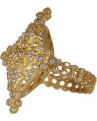 Freida Rothman - 14k Gold Plated Sterling Silver Bezel Set Cz Maltese Marquise Ring - Size 5 - Lyst