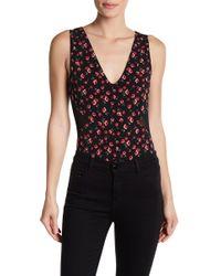 BCBGeneration - Floral Mesh Panel Bodysuit - Lyst