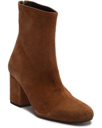 Free People - Cecile Leather Block Heel Bootie - Lyst