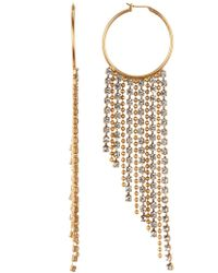 Loren Hope - Joan Crystal Chain Hoop Earrings - Lyst