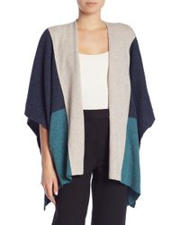 Three Dots - Donegal Colorblock Print Poncho - Lyst