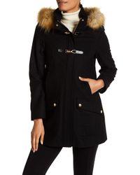 Cece by Cynthia Steffe - Ella Faux Fur Trim Wool Blend Duffle Coat - Lyst
