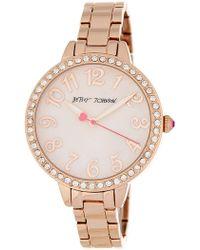 Betsey Johnson - Women's Bedazzled Crystal Embellished Bracelet Watch, 38mm - Lyst