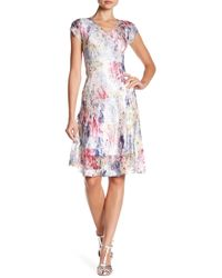 Komarov - V-neck Cap Sleeve Chiffon Insert Dress - Lyst