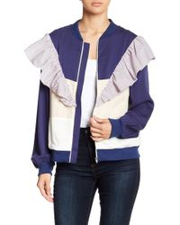 English Factory - Ruffle Colorblock Jacket - Lyst