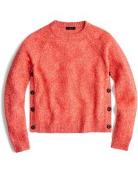J.Crew | Brushed Lambswool Cropped Crewneck Jumper With Buttons | Lyst