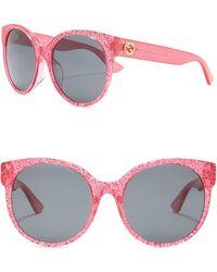 294add7632e Lyst - Gucci Glitter 54mm Sunglasses in Red
