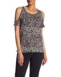 Lucky Brand - Paisley Cold Shoulder Tee - Lyst