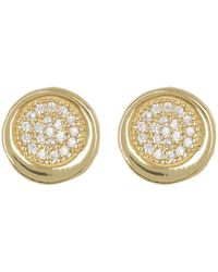 Argento Vivo - 18k Gold Plated Sterling Silver Pave Crystal Circular Stud Earrings - Lyst