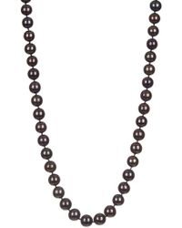 Splendid - Cz Accented Clasp Dyed Black 10-11mm Freshwater Pearl Necklace - Lyst