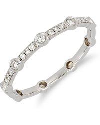 Bony Levy - 18k White Gold Bezel & Pave Diamond Detail Ring - 0.14 Ctw - Lyst