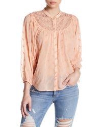 Lucky Brand - Embroidered Long Sleeve Blouse - Lyst